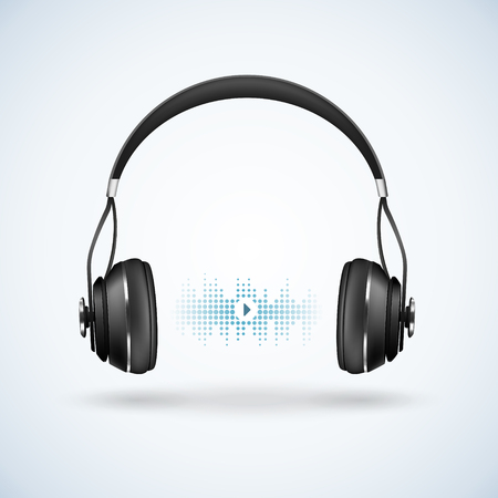 Auriculares negros inalámbricos realistas con diadema sobre fondo claro con onda acústica, ilustración de vector de signo de reproductor de audio