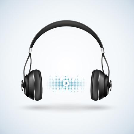 Realistische drahtlose schwarze Kopfhörer mit Stirnband auf hellem Hintergrund mit Schallwelle, Audiospielerzeichen vector Illustration