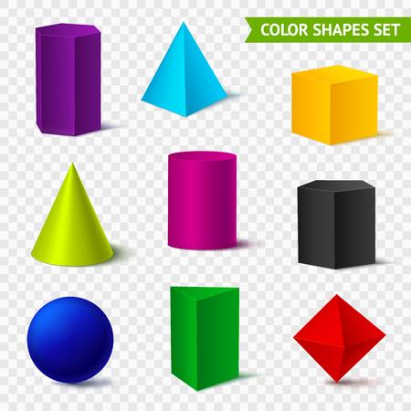 Realistische geometrische vormen transparante kleur instellen met geïsoleerde geometrische objecten van verschillende kleuren op transparant. Vector Illustratie