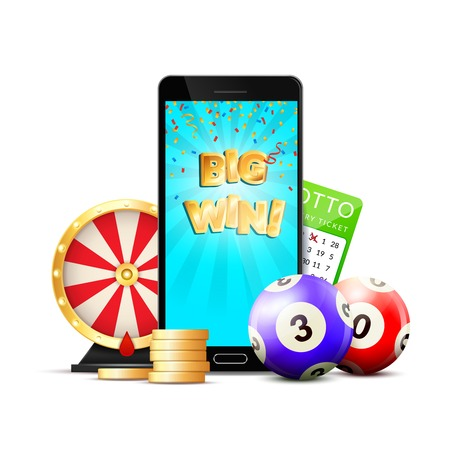 Online casino colorful composition advertisement with mobile big win screen chips roulette lottery card realistic vector illustration Illustration