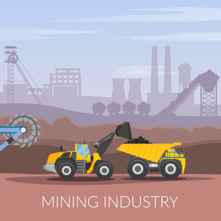 Mining industry flat composition with coal loading by excavator to truck on factory background vector illustration Иллюстрация