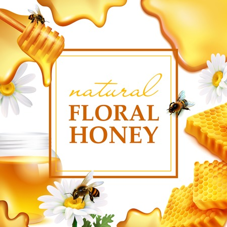Natural floral honey colorful frame with honeycombs daisy flowers bees and honey flowing realistic. Vectores
