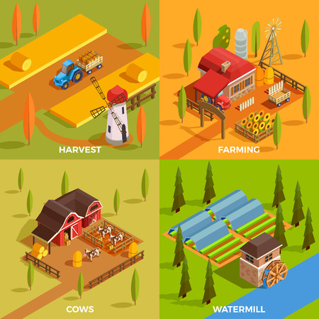 Farm rural buildings watermill domestic animals and agricultural equipment 2x2 design concept 3d isometric isolated vector illustration 向量圖像