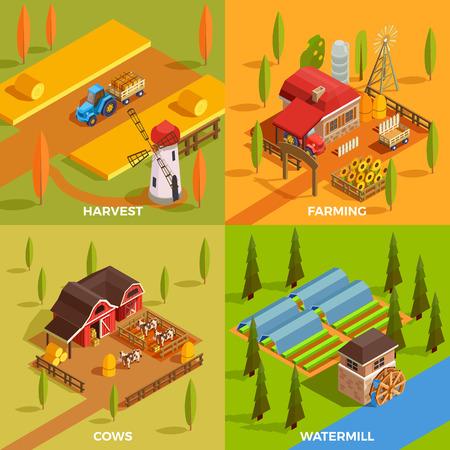 Granja rural edificios watermill animales domésticos y equipo agrícola 2x2 diseño concepto 3d isométrica ilustración vectorial aislada Foto de archivo - 86092978