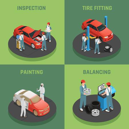 차량 수리 및 유지 보수 autoservice 개념 4 아이소 메트릭 배경 아이콘 벡터 일러스트 레이 션을 균형 조정 자동차 검사와 사각형