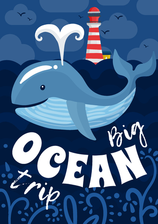 Ocean trip poster with lighthouse, flying birds in sky, whale with fountain on blue background vector illustration