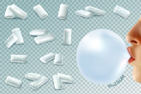 Realistic gum transparent set with mint chewing gum pieces and human lips with bubble on transparent background vector illustration