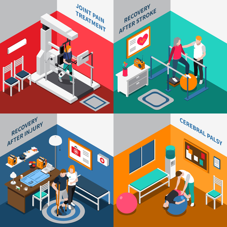 Four squares physiotherapy rehabilitation isometric icon set with joint pain treatment recovery after stroke and injury cerebral palsy descriptions vector illustration
