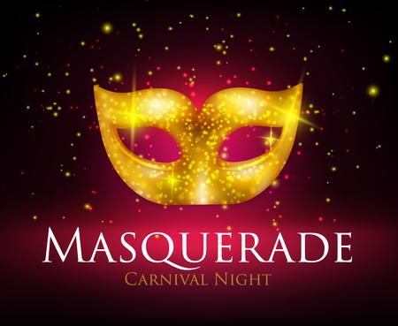 Beautiful sparkling golden carnival mask on dark background realistic vector illustration Ilustração