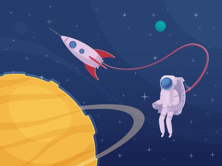 Extravehicular beeldverhaal van het activiteitenbeeldverhaal met astronaut het spacewalking in ruimtepak en grote gele planeet op voorgrond vectorillustratie