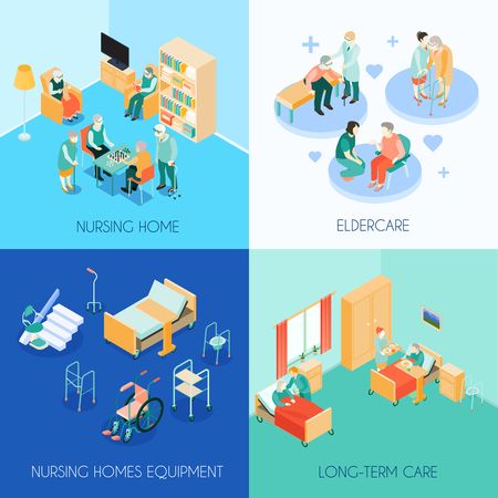 Nursing home eldercare concept 4 isometric icons square with long-term care unit activities isolated vector illustration