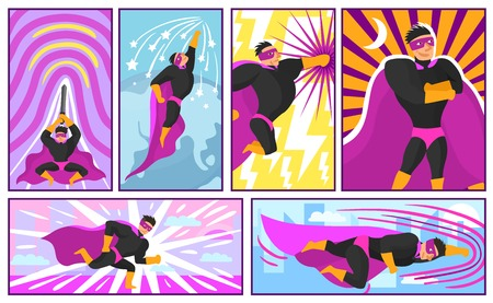 Set of banners and posters in comics style with superhero actions on colorful background isolated vector illustration Illustration