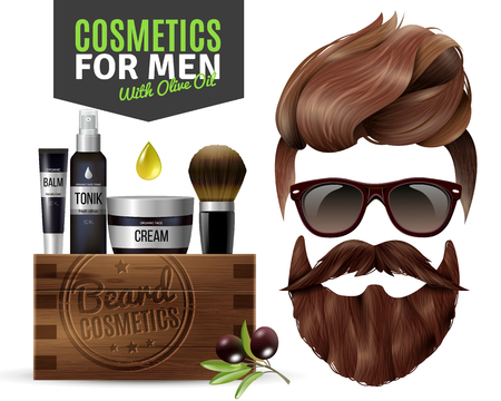 Realistic poster with male cosmetics for hair and beard vector illustration Illustration
