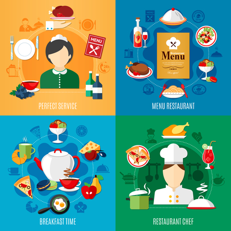 Restaurant menu and staff 2x2 design concept isolated on colorful backgrounds flat vector illustration