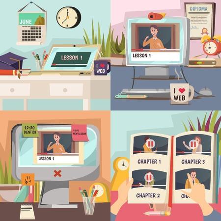 원격 교육 스케줄에 대한 자습서와 온라인 교육 2x2 디자인 개념 졸업장 및 magistracy 모자 평면 벡터 일러스트 레이션