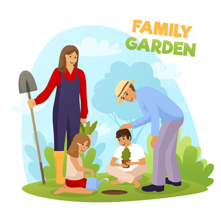 Family garden with smiling adults and kids, boy holding seedling and girl watering ground flat vector illustration