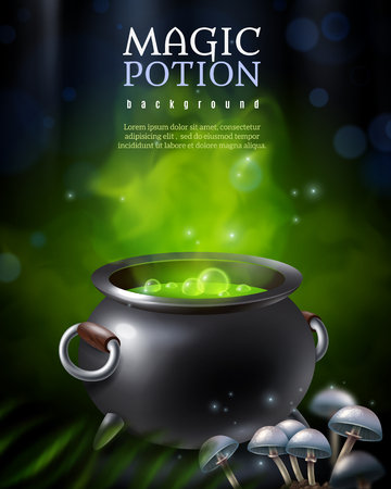 Magic potion background with black potty and green steaming hebenon boiling away with toadstool mushroom images vector illustration