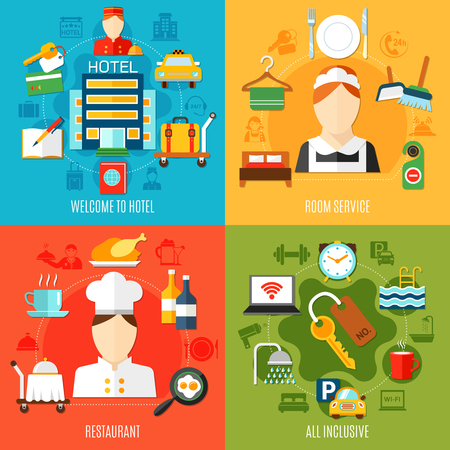 Hotel 2x2 design concept with restaurant and room services and all inclusive icons flat vector illustration