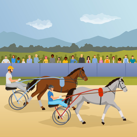 Harness racing flat composition with jockeys and horses, spectators behind fence on natural landscape background vector illustration Illustration