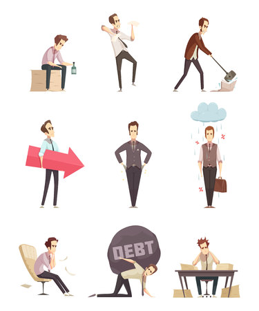 Business failure retro cartoon icons set with frustrated upset businessman with debt burden metaphor isolated vector illustration Imagens - 86093004