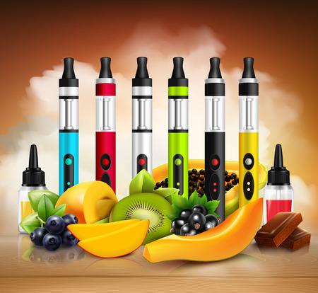 Cigarrillos electrónicos vaping coloridos y varias frutas en la ilustración de vector realista superficie de madera Foto de archivo - 86093005