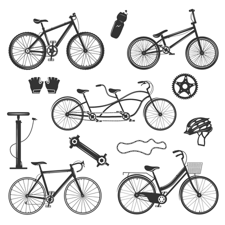 Bicycle vintage elements collection of isolated silhouette images with different bike models spare parts and accessories vector illustration