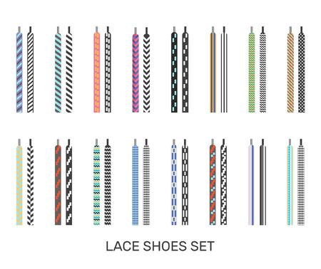 현대 색된 신발 끈 쌍 아이콘 캐주얼 스포츠 스 니 커 즈 선택 흰색 배경 격리 된 벡터 일러스트 레이 션에 대 한 설정