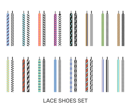 Modern colored patterned shoelaces pairs icons set for casual sport sneakers selection white background isolated vector illustration