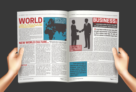 Reading world business news poster with hands holding open newspaper on dark graphite grey background vector illustration