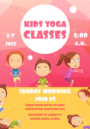 Kids yoga classes poster with advertising of training programs date and time flat vector illustration