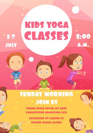 Kids yoga klassen poster met reclame voor trainingsprogramma's datum en tijd platte vectorillustratie Stock Illustratie