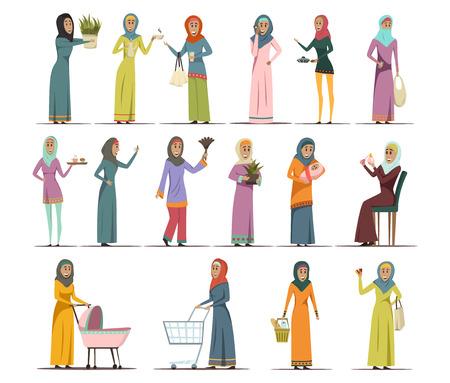 mujer en el supermercado: Iconos de la mujer árabe establecidos con símbolos de trabajo y familia aislados ilustración vectorial plana Vectores