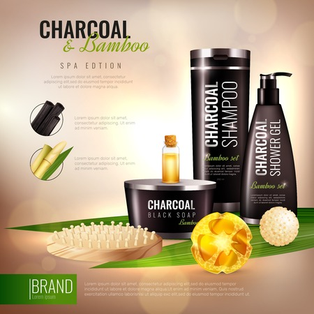Handmade body cosmetics with charcoal and bamboo, wooden massage brush ad poster on blurred background vector illustration Illustration