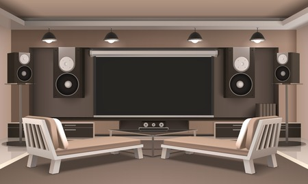 Modern home theater interior with audio and video equipment, couches, journal table, hanging lamps 3d  illustration Ilustracja