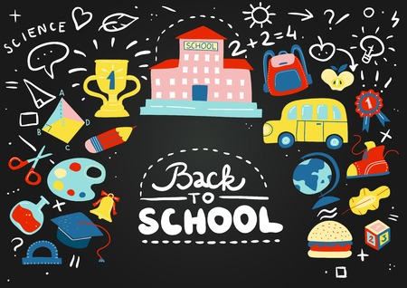 Colored cartoon school chalkboard composition with childrens chalk drawn doodles and phrases vector illustration Illustration