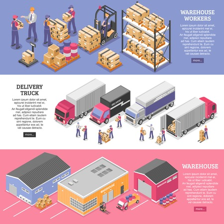 Logistics horizontal banners set with delivery symbols isometric isolated vector illustration Stock Vector - 86093017