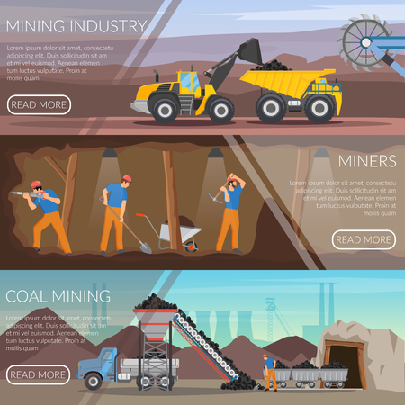 De reeks vlakke horizontale banners met mijnbouw, arbeiders met hulpmiddelen, steenkoolextractie isoleerde vectorillustratie