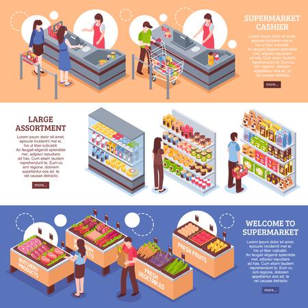 Supermarket horizontal banners set with cashier symbols isometric isolated vector illustration Illustration