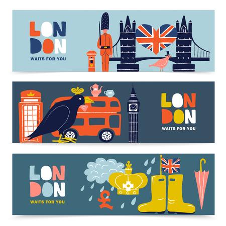 Set of horizontal banners with london landmarks including guards, architecture, tea, royal ravens, umbrella isolated vector illustration Illustration