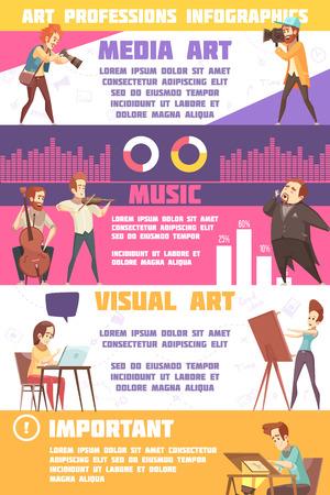 Art professions infographic set with avisual and media art symbols flat isolated vector illustration Illustration