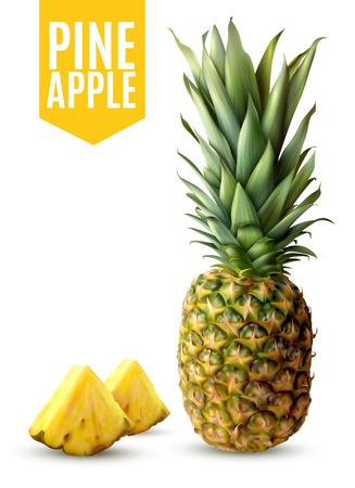 Realistische rijpe ananas en twee verse die plakken op witte vectorillustratie worden geïsoleerd als achtergrond Stock Illustratie