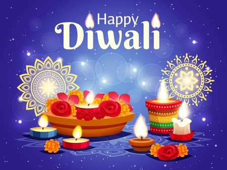 Realistic sparkling blue background with different objects for celebrating indian diwali holiday vector illustration Illustration
