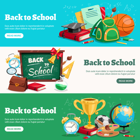 Back to school 3 horizontal banners webpage design with classroom ready backpacks chalkboard stationary supplies isolated vector illustration Illustration