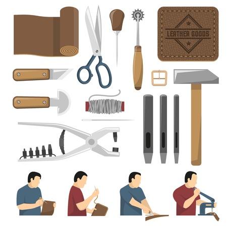 Skinner-hulpmiddelen decoratieve pictogrammen geplaatst die voor het schrijvende snijden van naaiende leergoederen vlakke vectorillustratie worden gebruikt