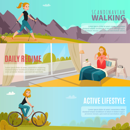 Cartoon set of horizontal banners with happy girls doing sports and leading healthy active lifestyle isolated vector illustration Illustration