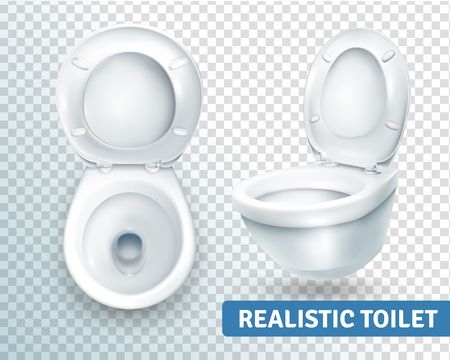 Realistic toilet transparent set with two isolated images of white toilet bowl view from different angles vector illustration
