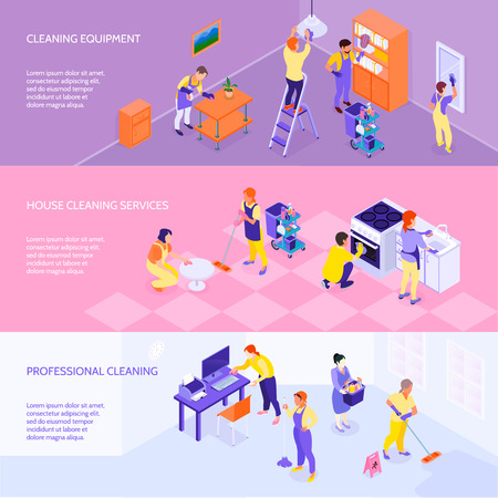 Professional cleaning company equipment services and rates 3 horizontal infographic elements isometric banners set isolated vector illustration