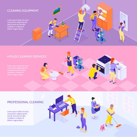 Los servicios de equipos de la compañía de limpieza profesional y las tarifas 3 banners isométricos de elementos de infografía horizontal conjunto aislado vector illustration