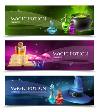 Horizontal realistic colorful banners set with mysterious magic potion and other witchcraft stuff isolated vector illustration