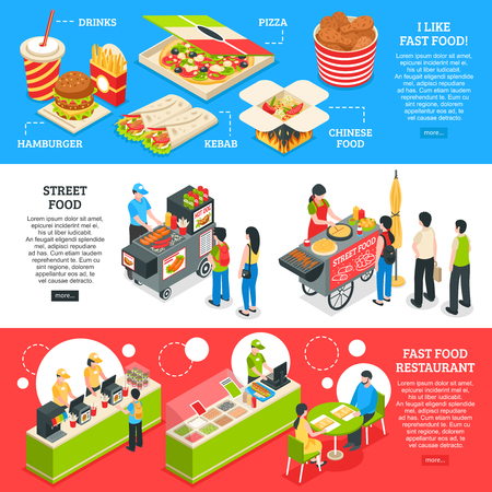 Fast food restaurants streets mobile carts and home delivery orders menu 3 isometric horizontal banners vector illustration Illustration